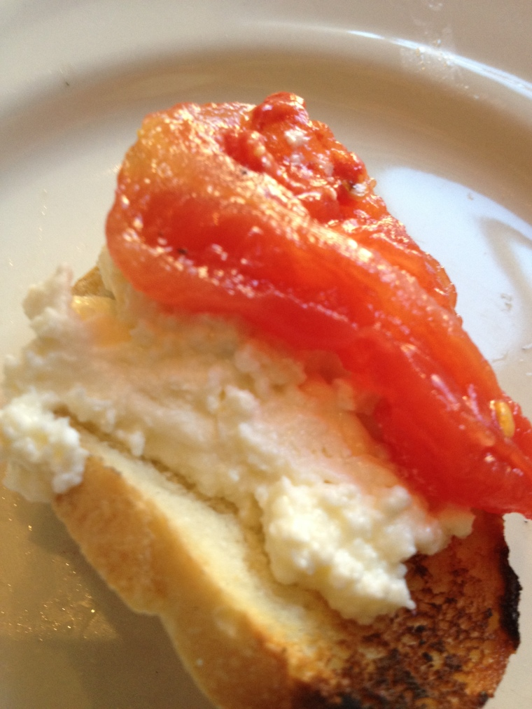 Homemade Burrata sampler, where we made our own with crostini, homemade ricotta, and stewed tomatoes.