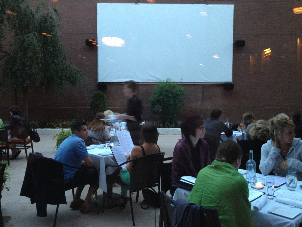 sneak peek of the Bacchus Film Series patio!