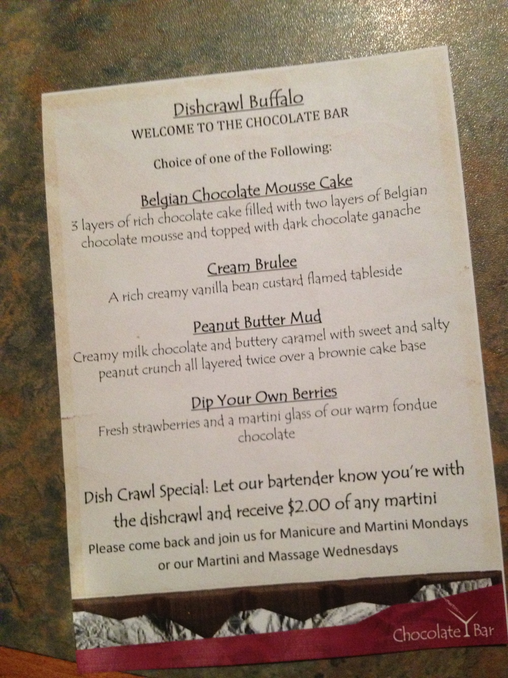 the Chocolate Bar special menu for Dishcrawl Buffalo!