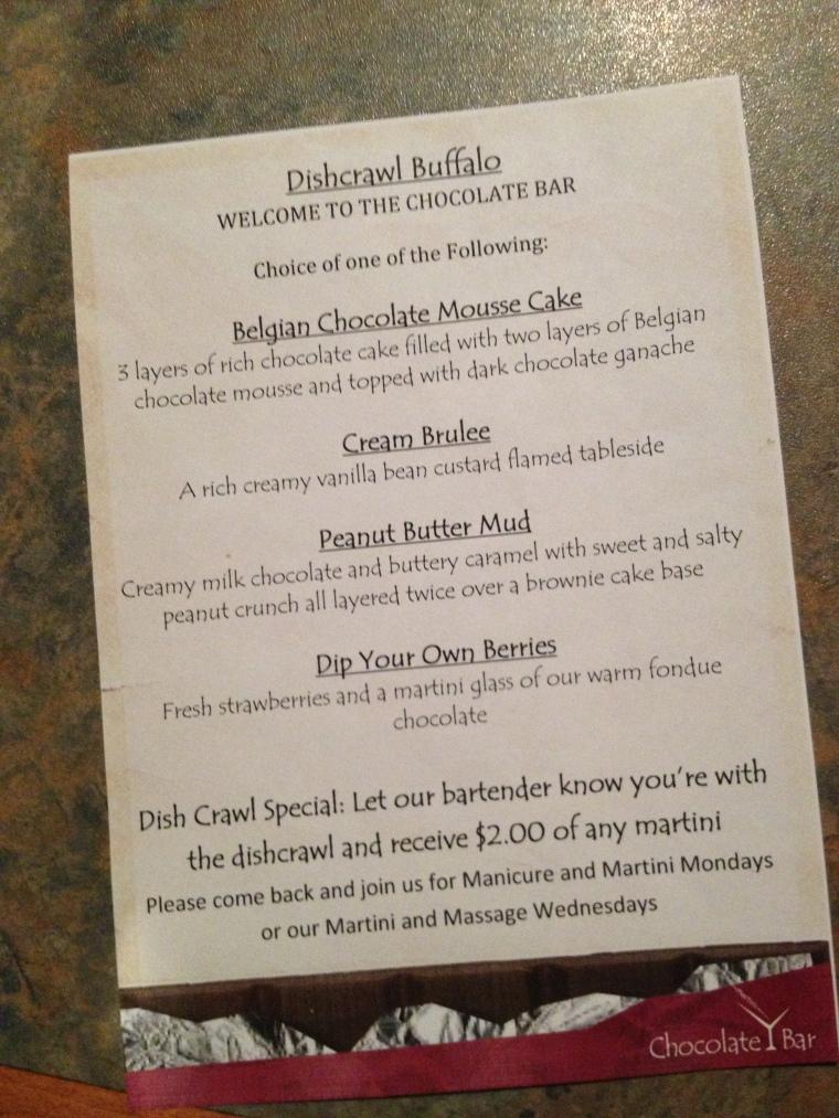 the Chocolate Bar special menu for Dishcrawl Buffalo!