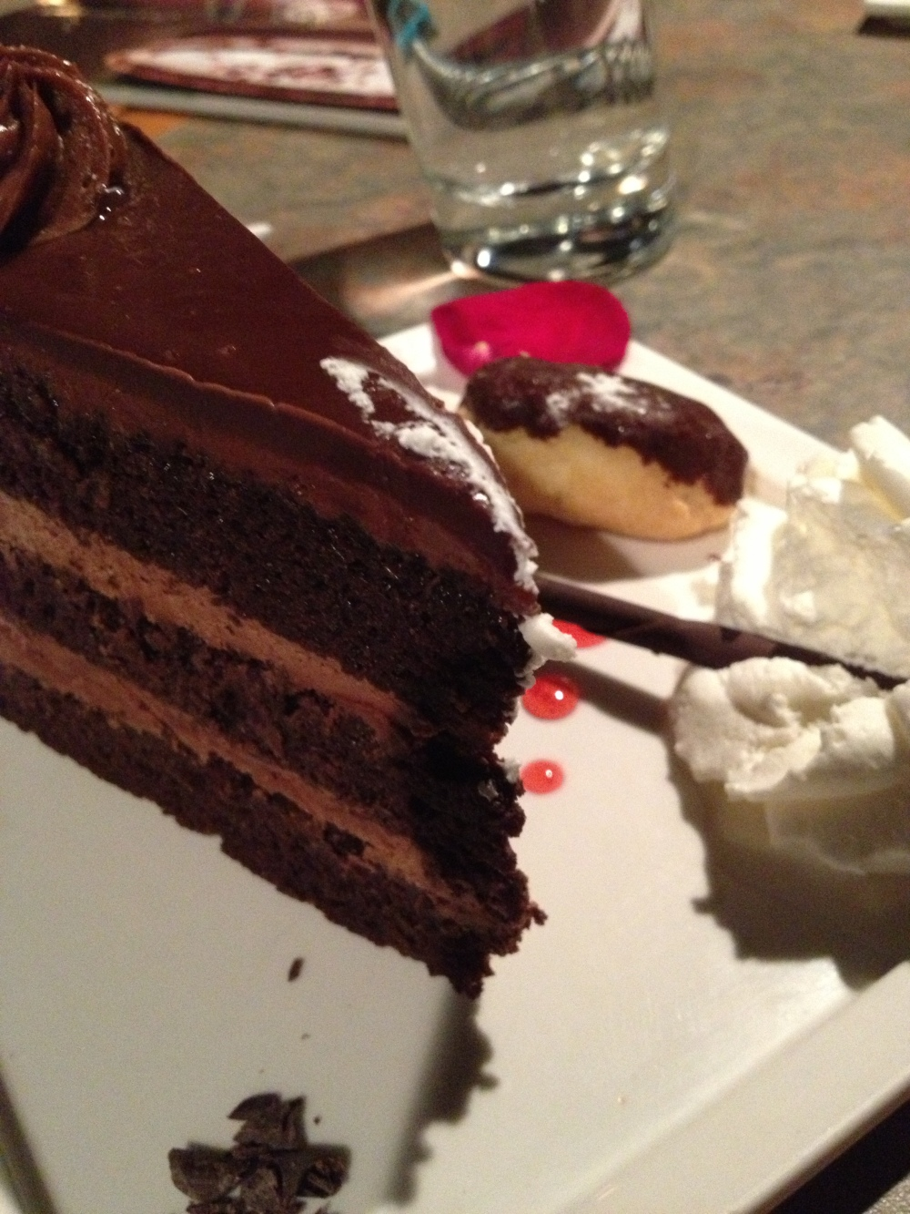 Belgian Chocolate Mousse Cake...these were not samplers! Full on dessert!