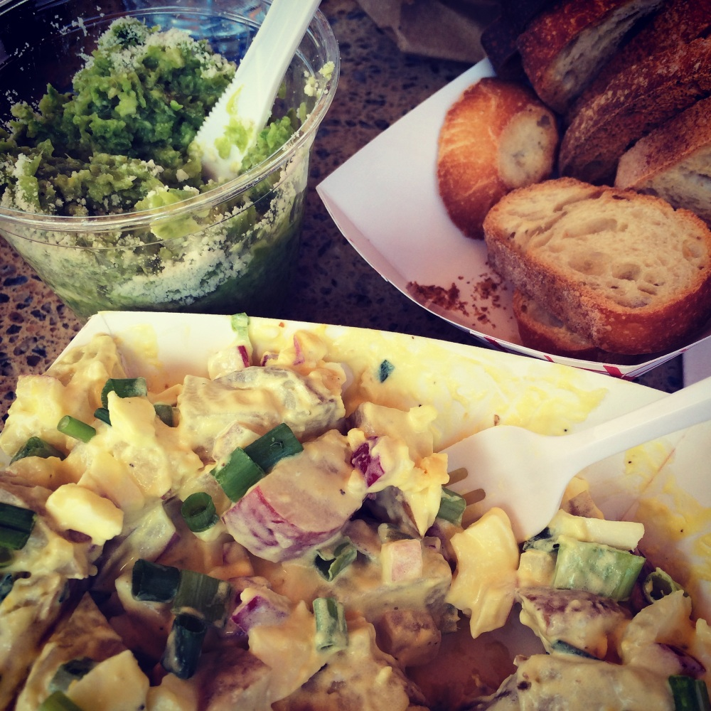 Black Market Food Truck: pea & parm crostini; potato salad galore